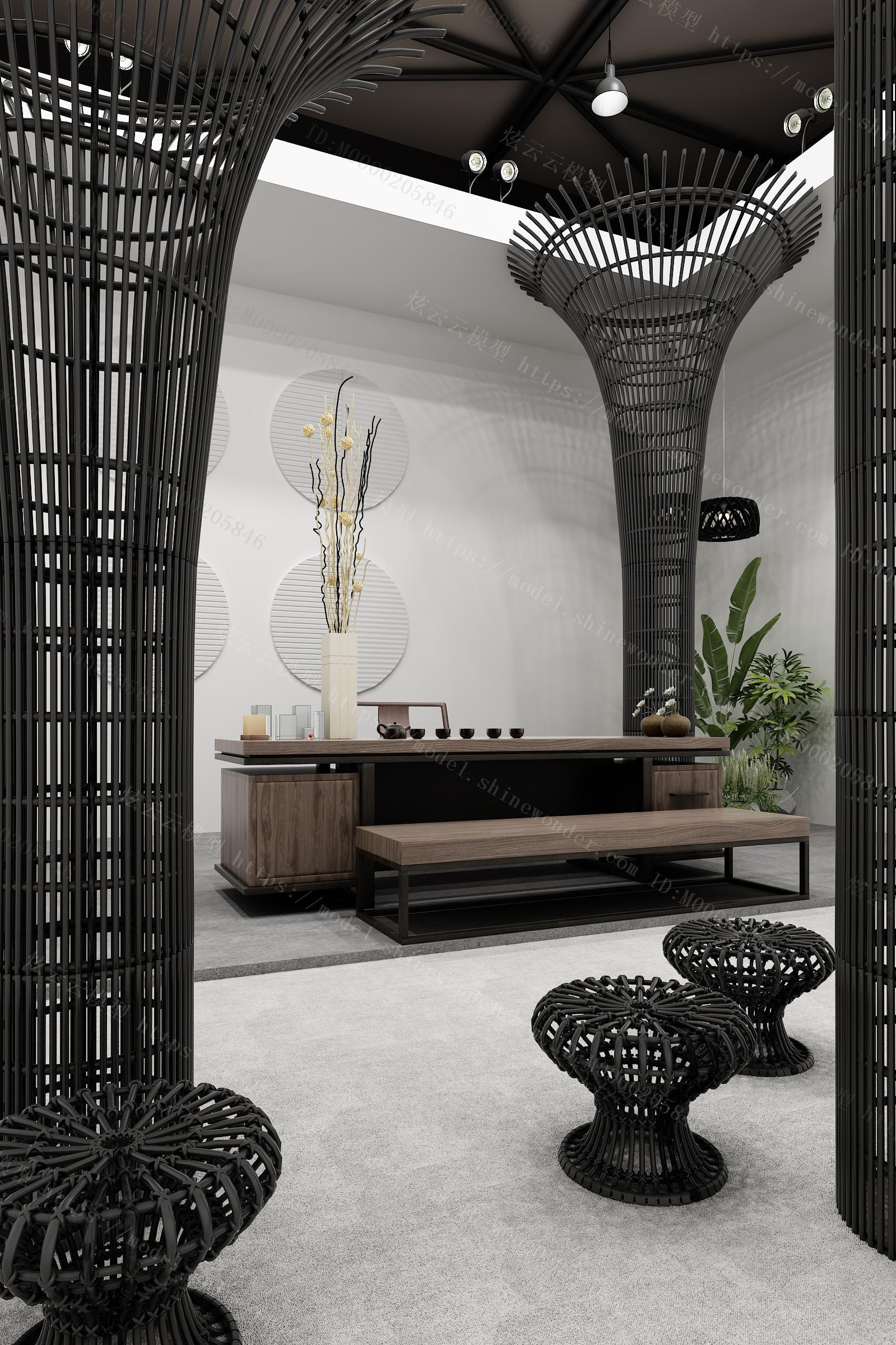 现代茶桌椅组合模型