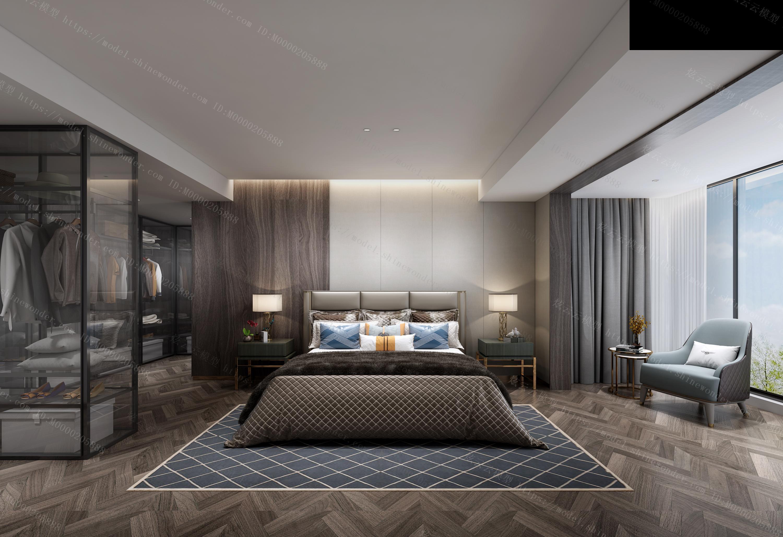 后现代卧室模型