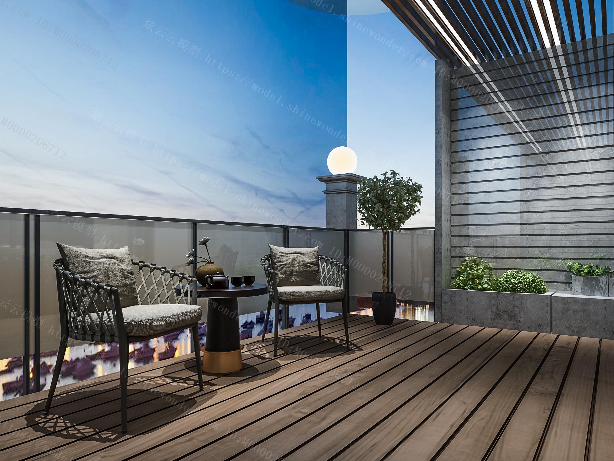 现代阳台模型