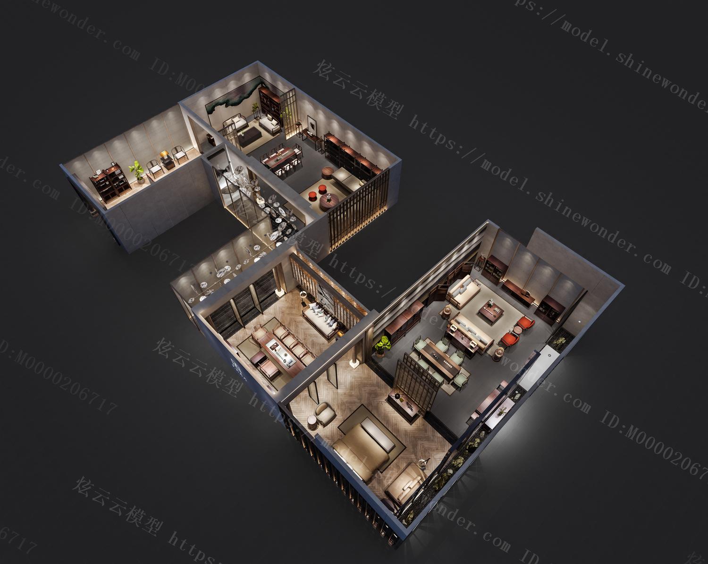 中式软装店模型
