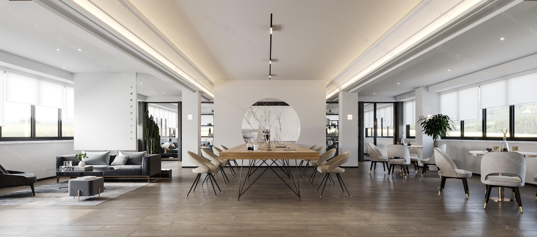 现代中式办公室经理室模型