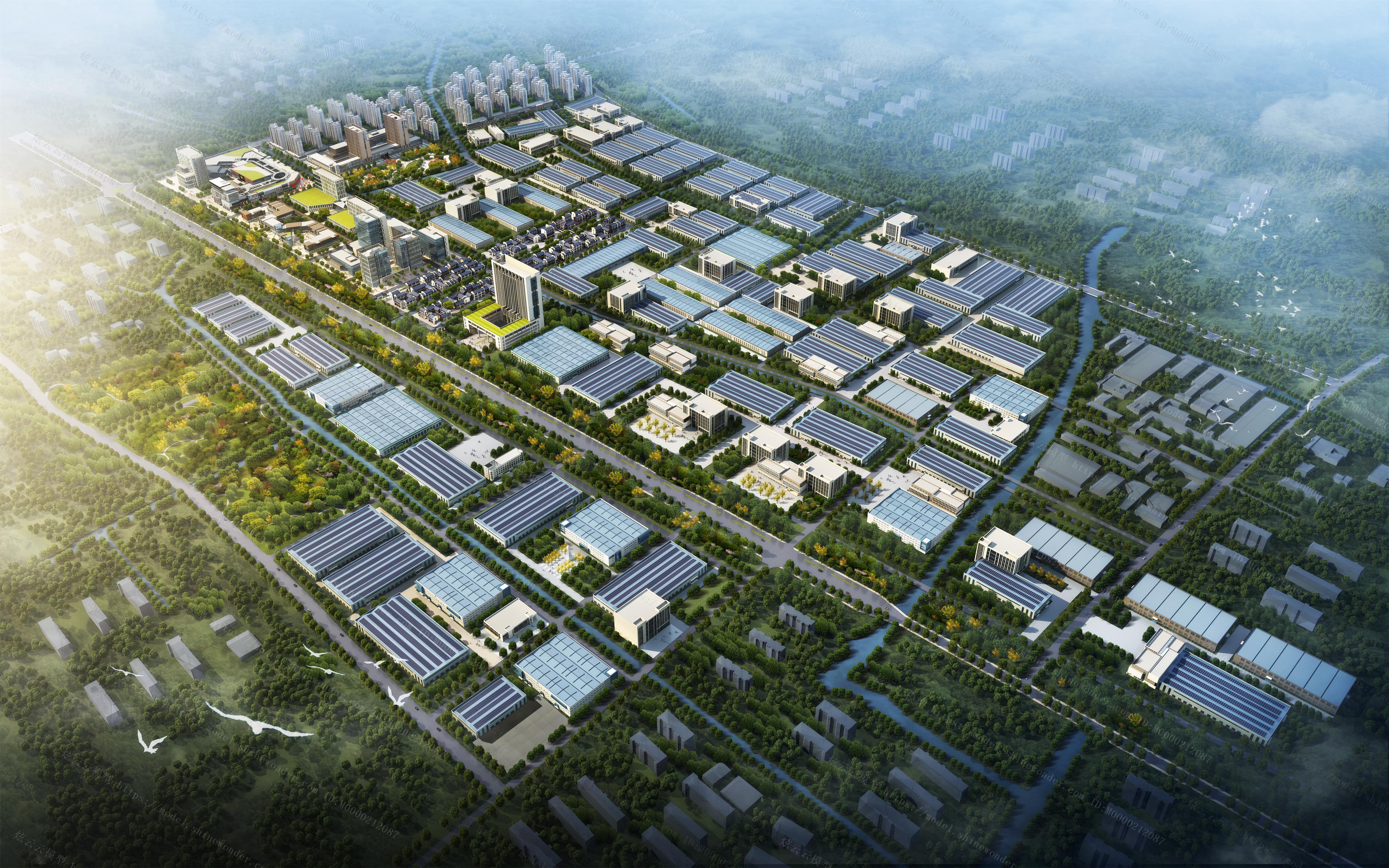 现代城市鸟瞰规划模型
