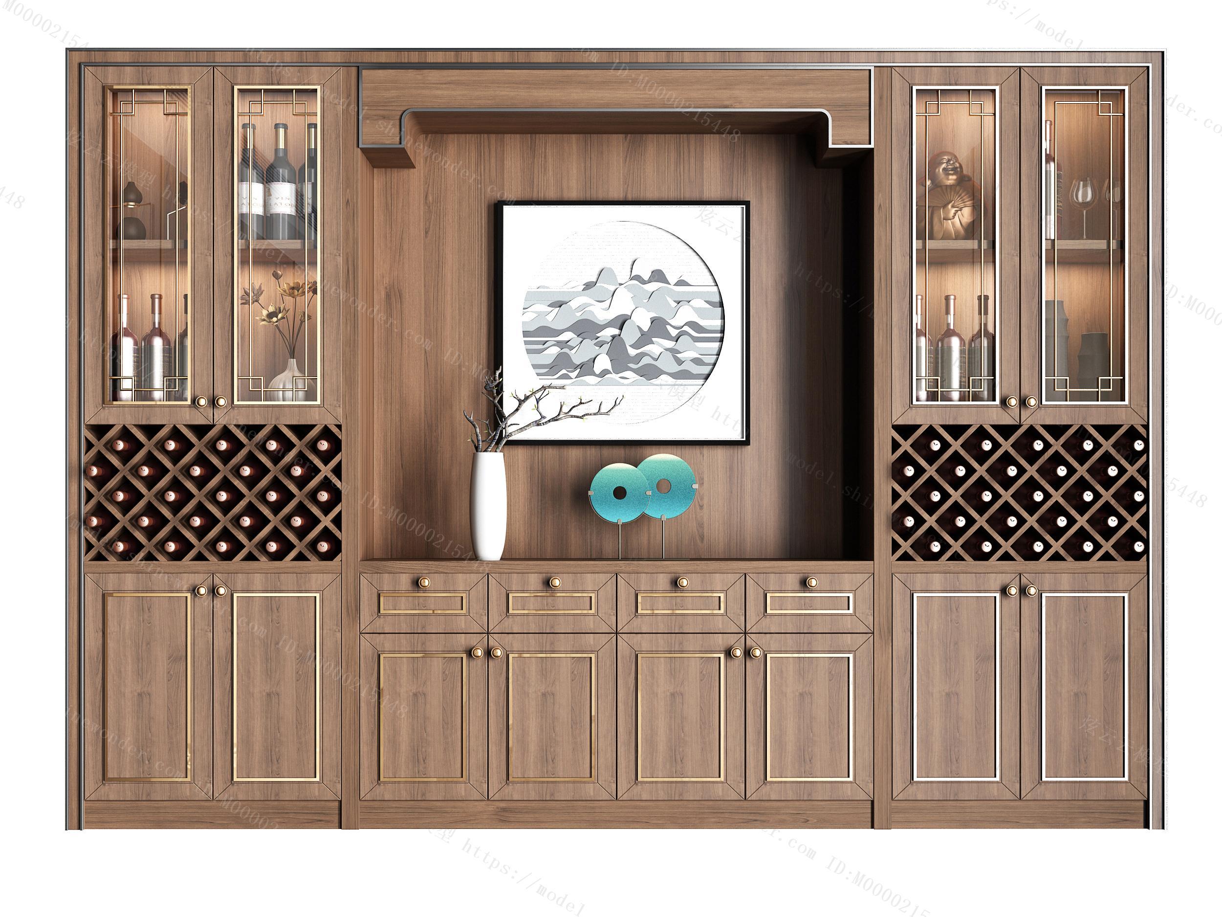 新中式实木酒柜组合模型