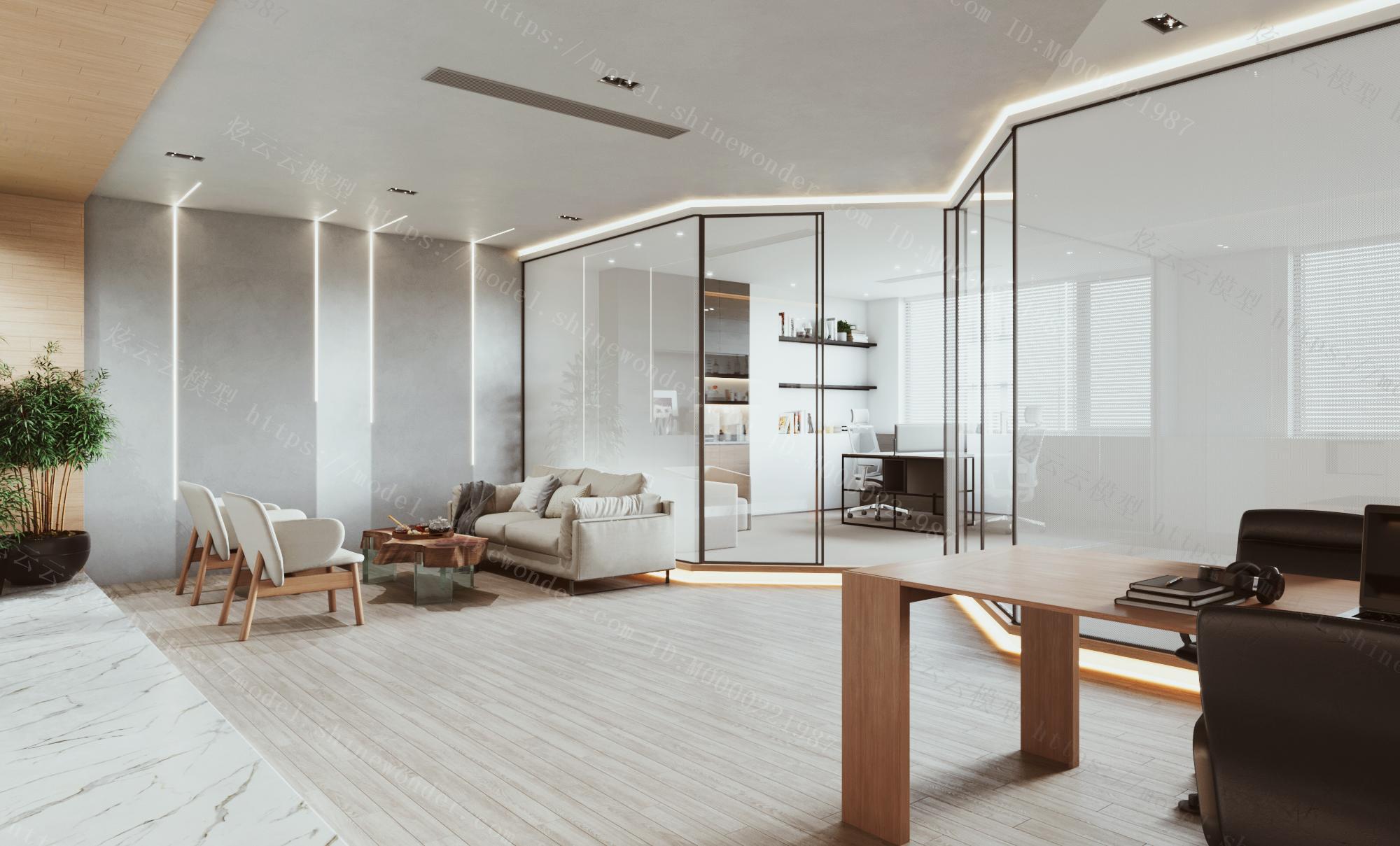 现代办公室接待室模型