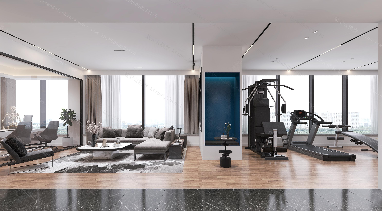 现代健身工作室模型