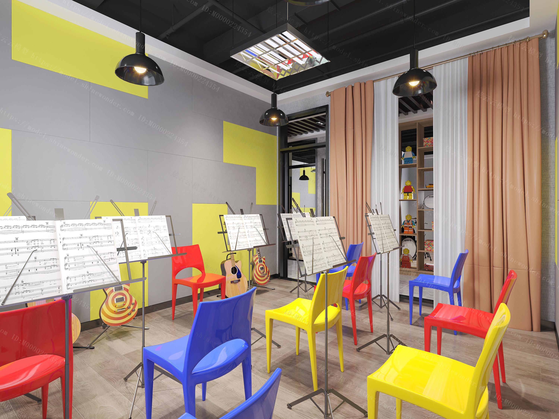现代音乐培训教室模型