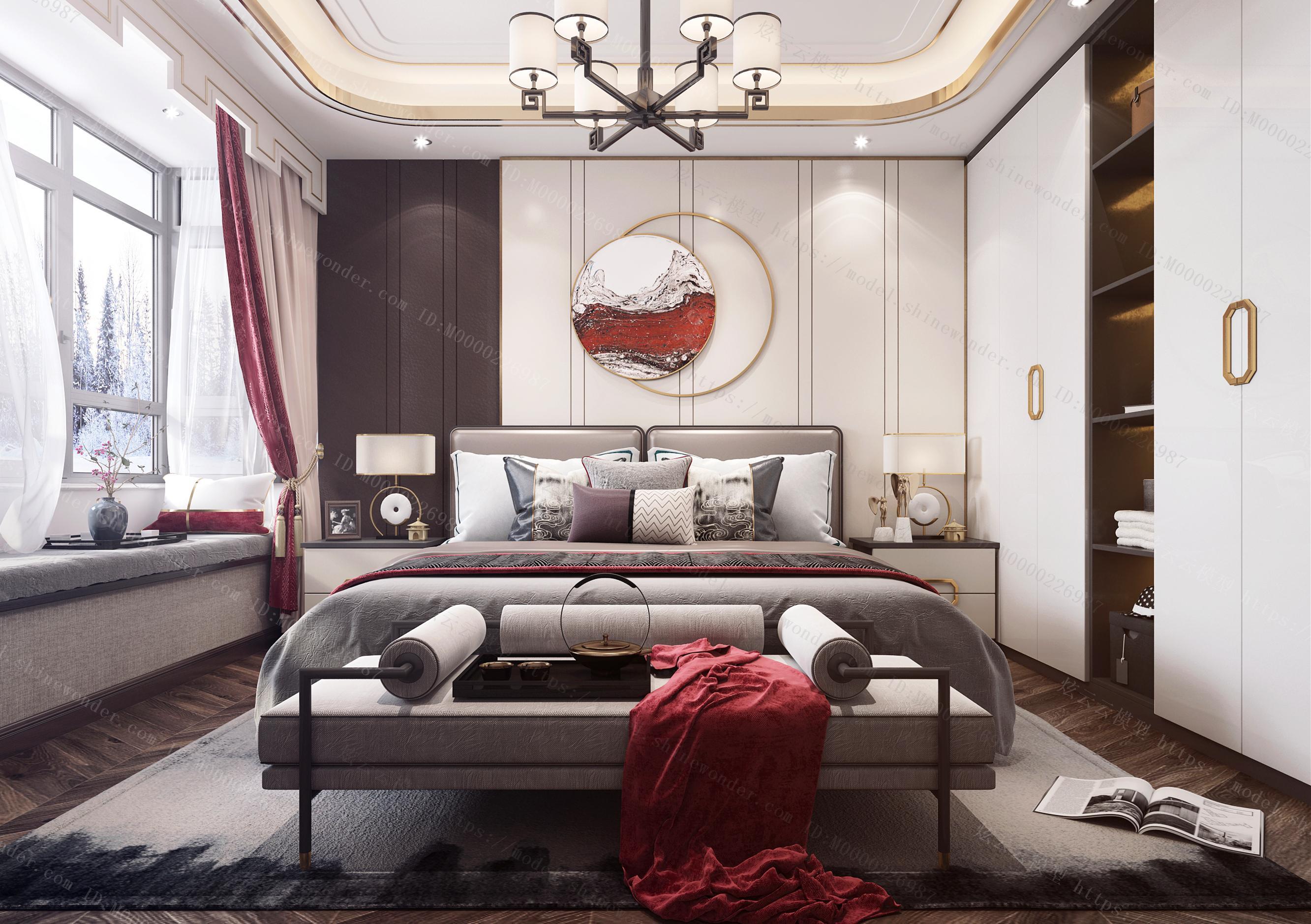 新中式风格主卧室模型