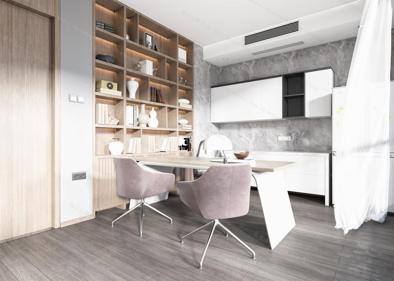 现代客厅书房全景模型