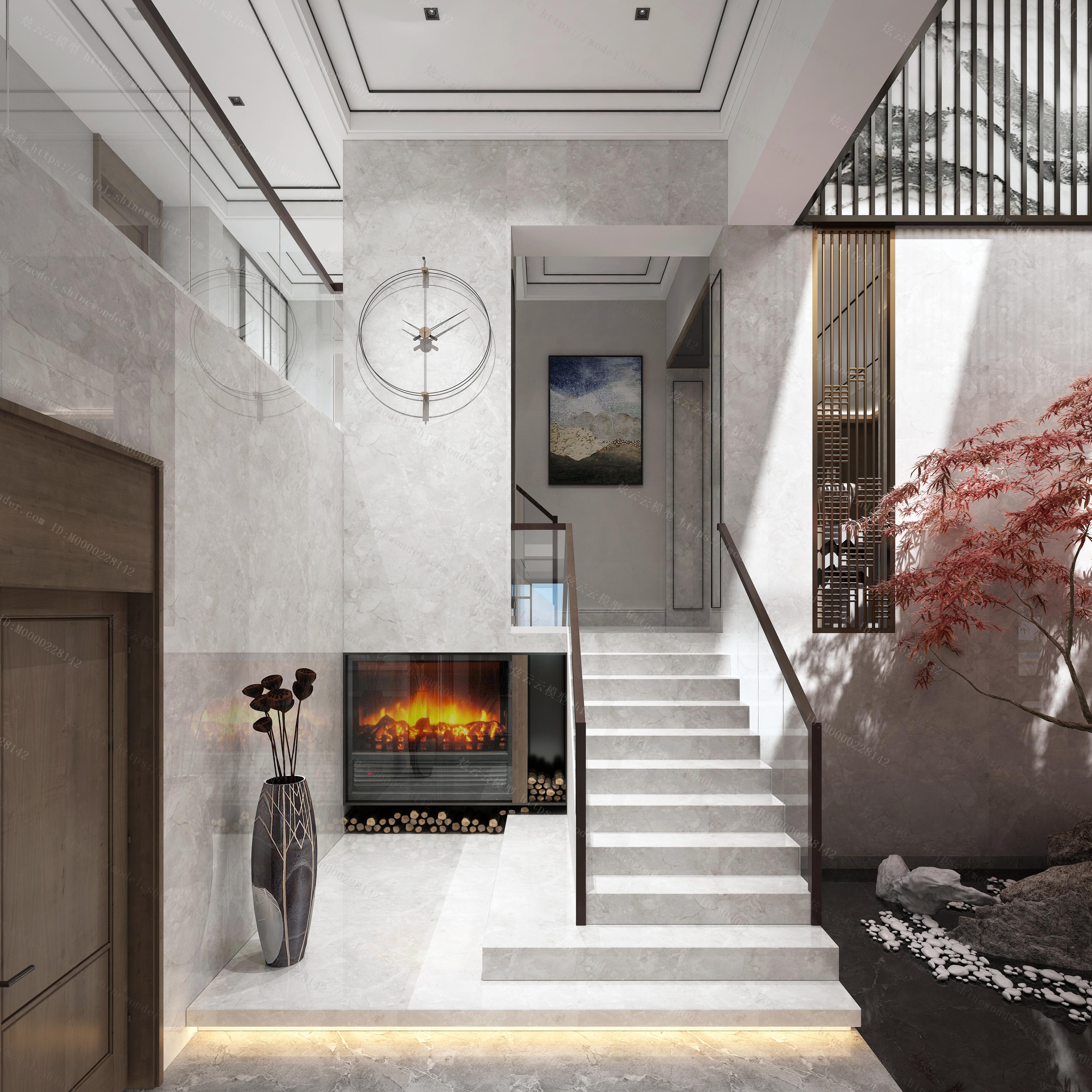 新中式餐厅厨房过道模型