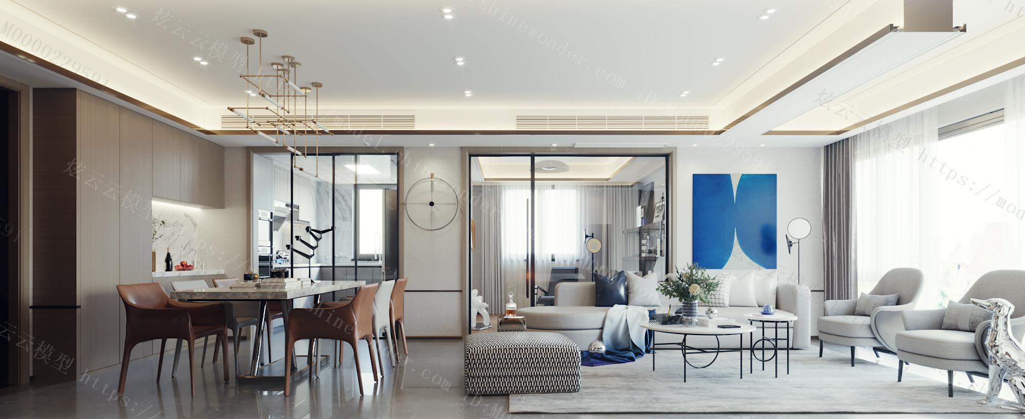 现代蓝色客餐厅模型