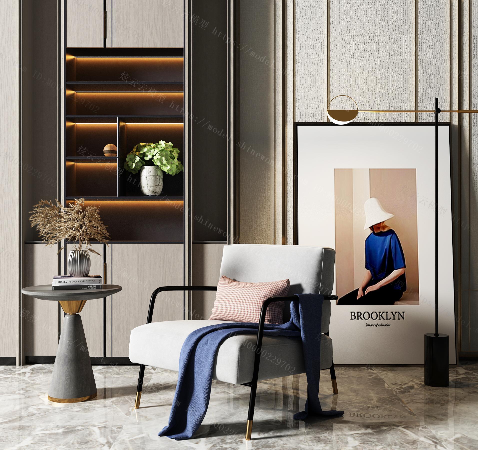 现代布艺休闲沙发模型