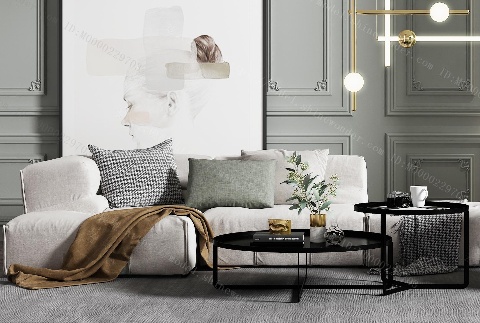 现代布艺沙发茶几模型