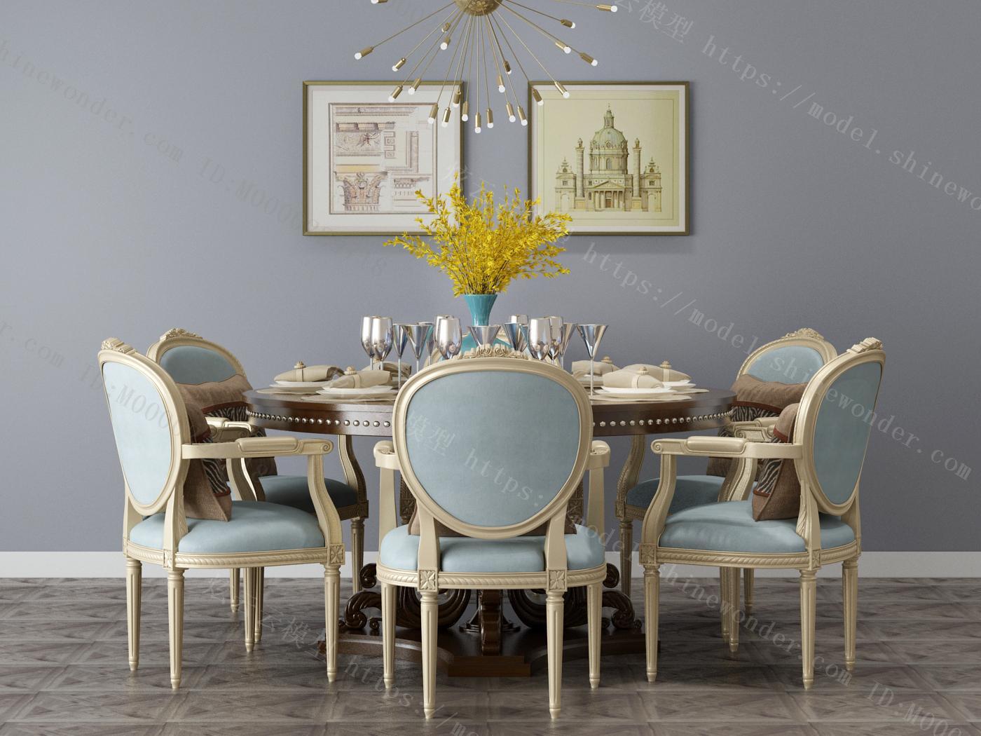 现代美式餐桌椅组合模型