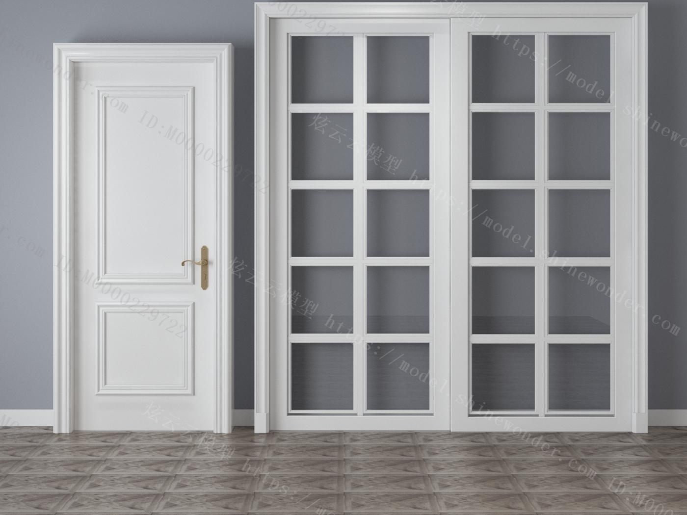 现代套装门移门模型