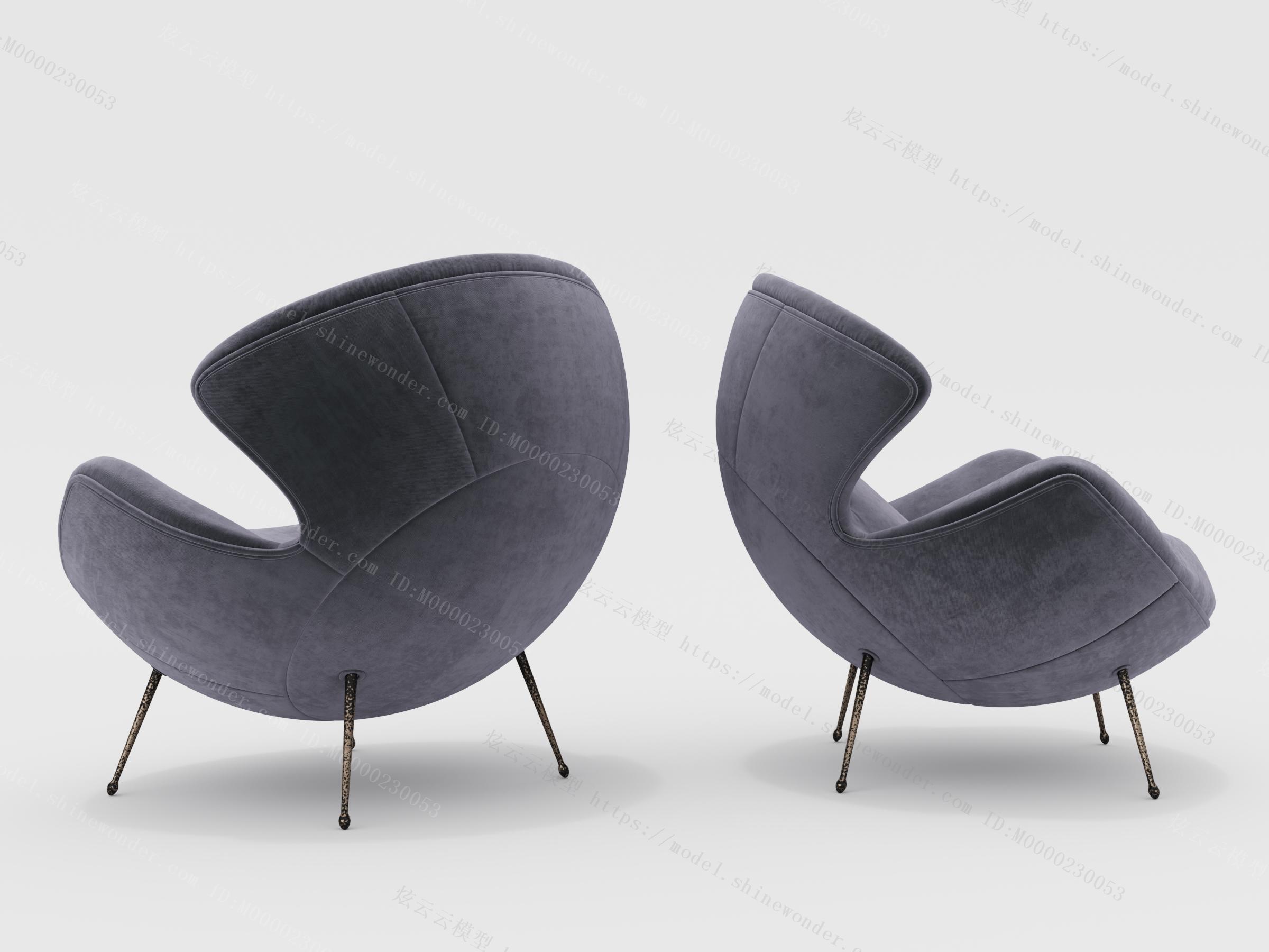 现代休闲单人椅模型