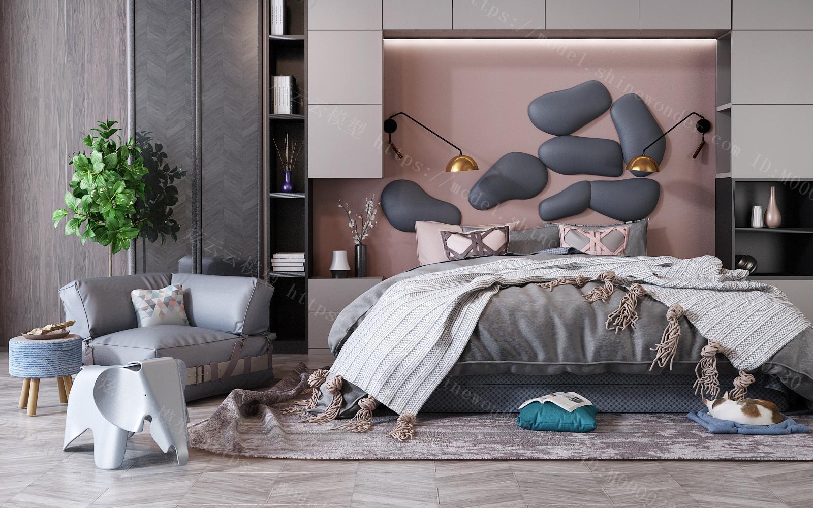 现代双人床124023模型
