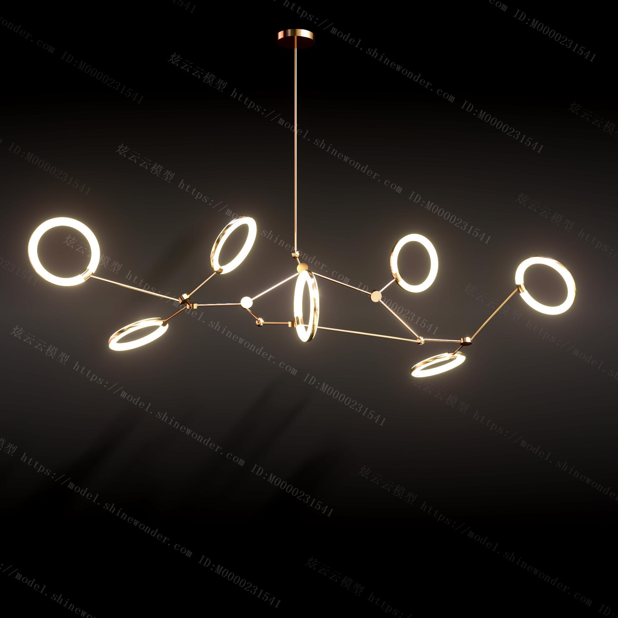 现代金属吊灯模型
