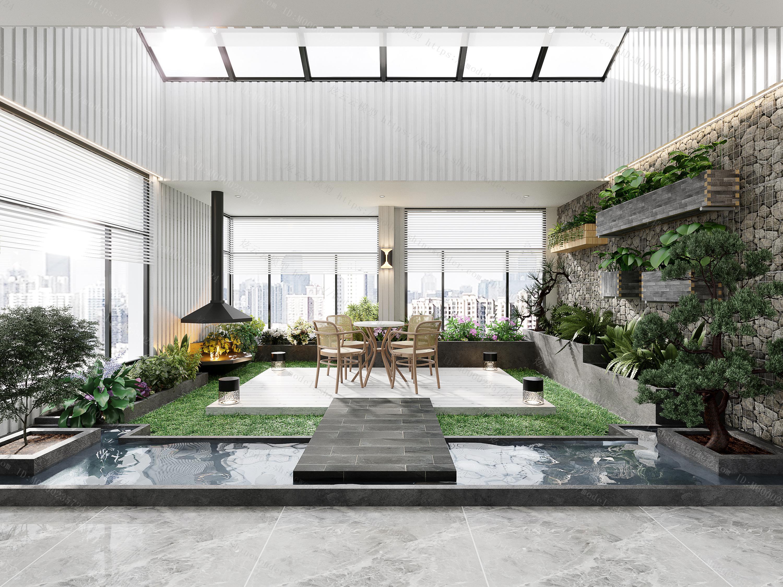 会所休闲区室内花园水景模型