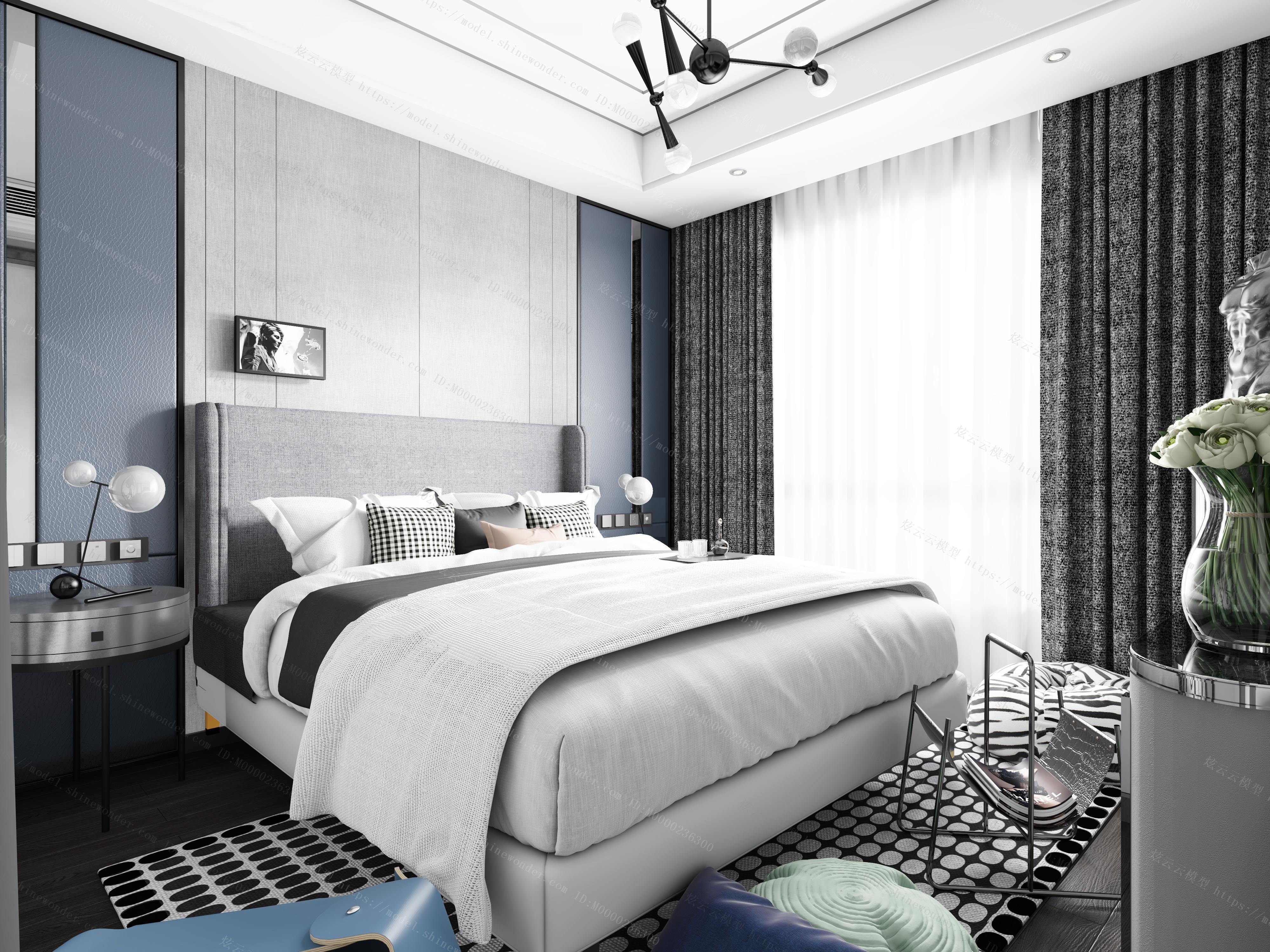 现代卧室全景模型
