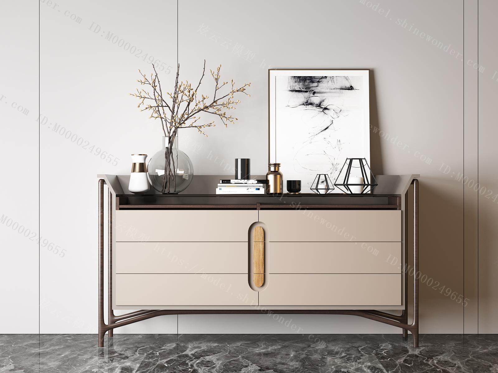 现代装饰边柜组合模型