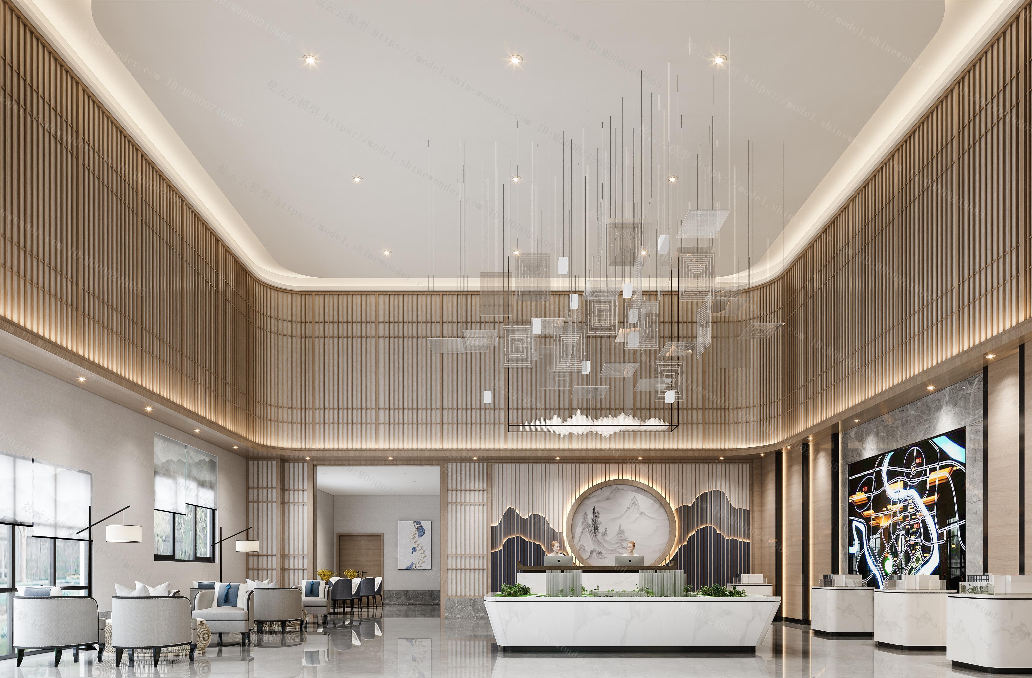 新中式售楼处大厅模型