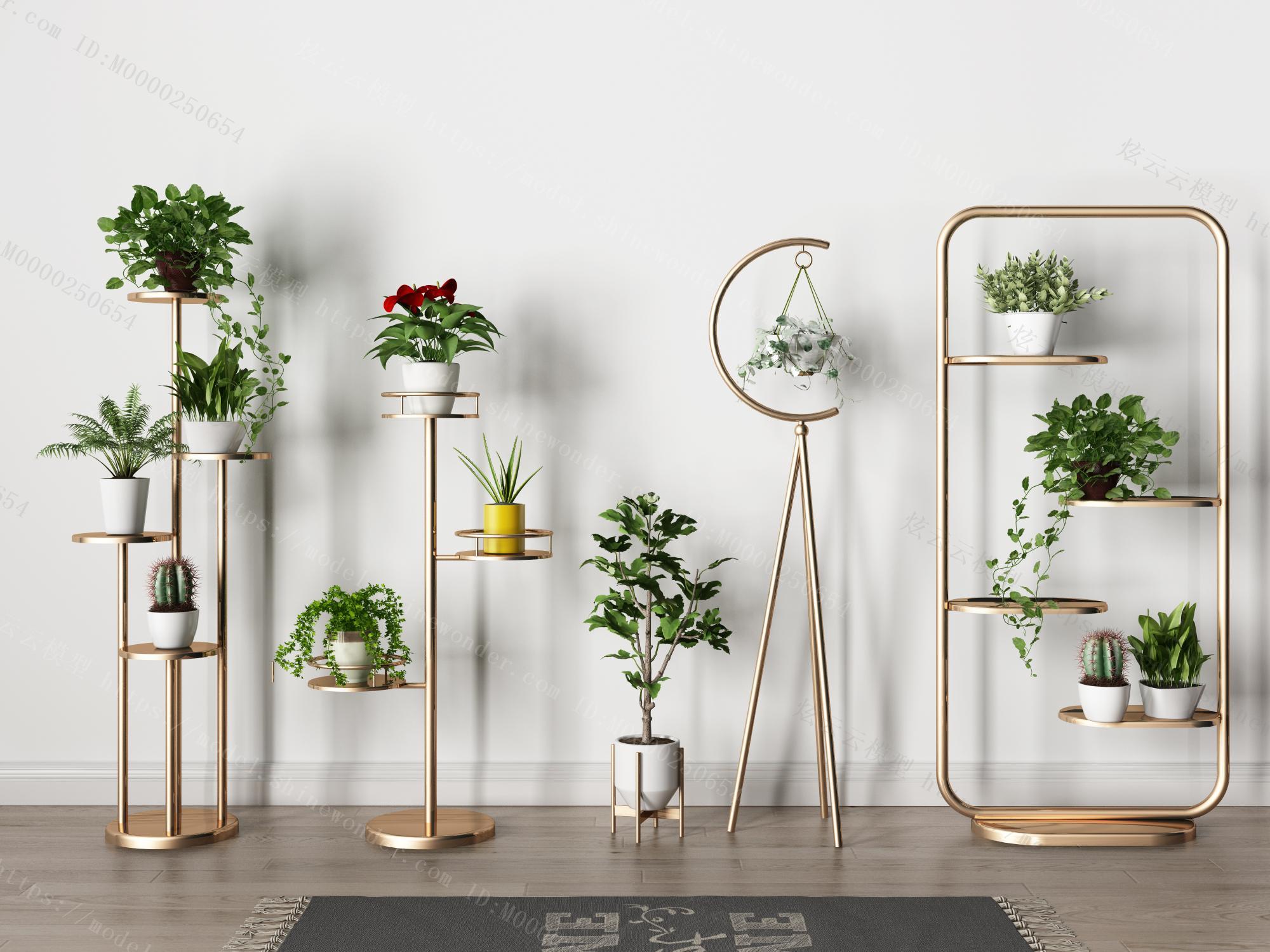北欧装饰置物架绿萝植物2模型