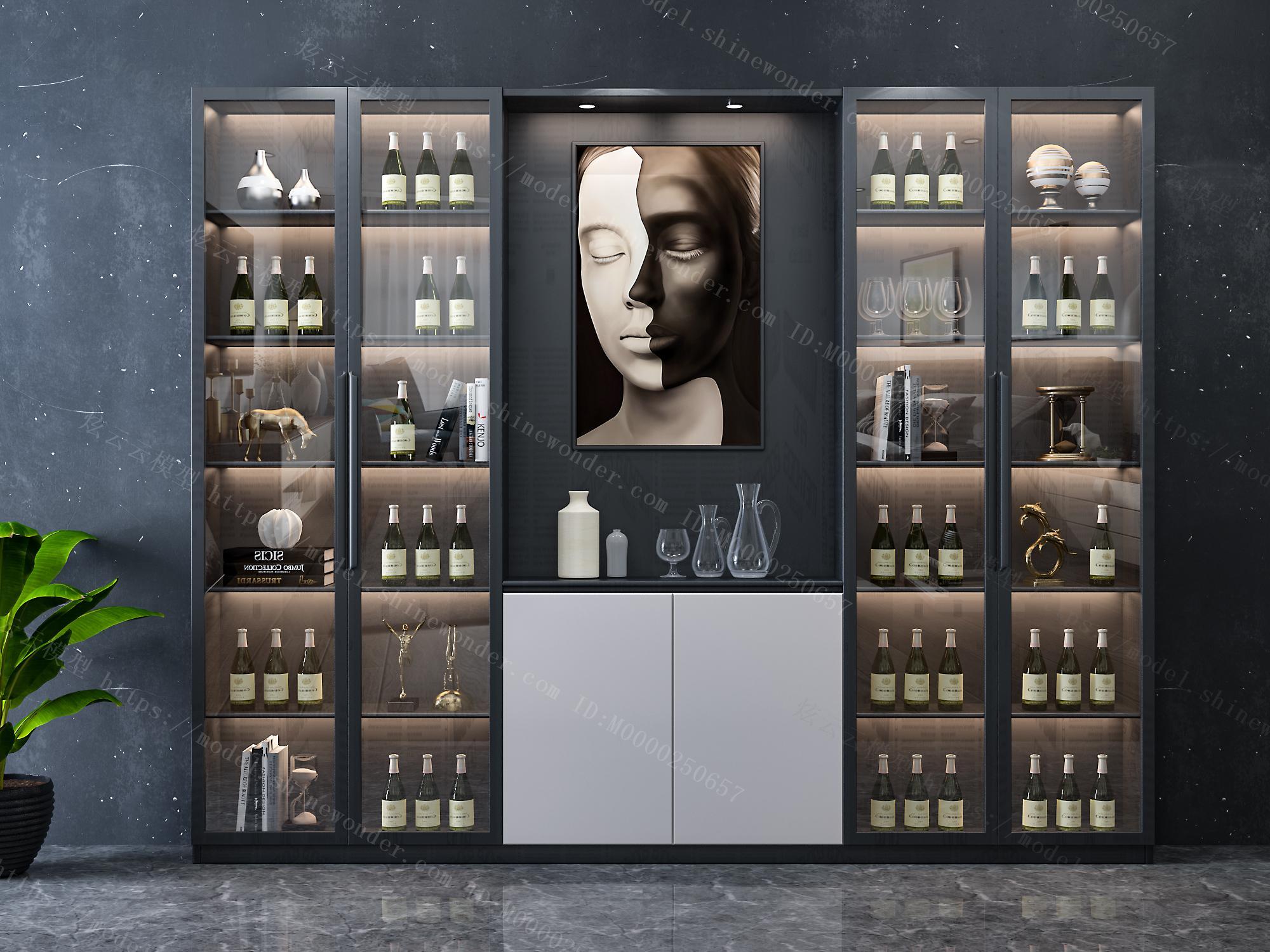 现代轻奢酒柜模型