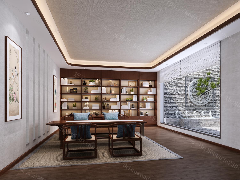 新中式书房模型
