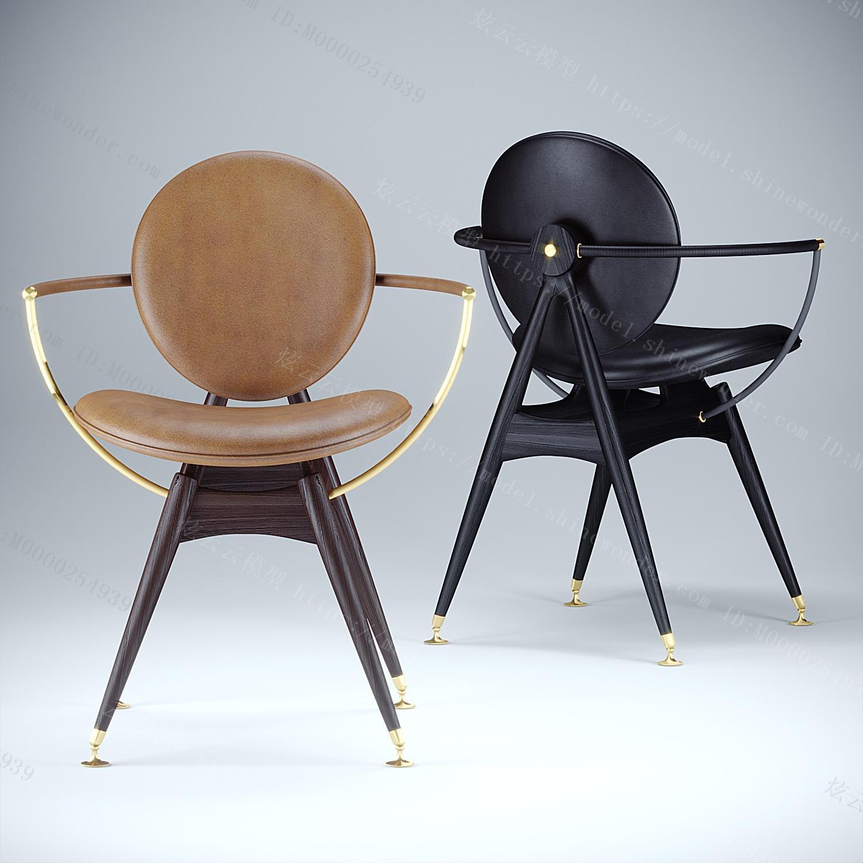 现代布艺休闲椅子模型