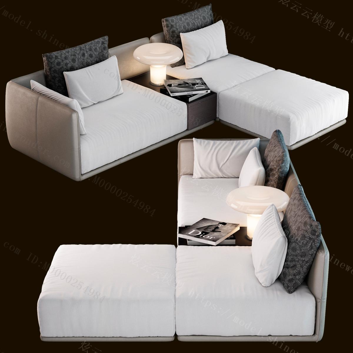 现代多人转角沙发模型