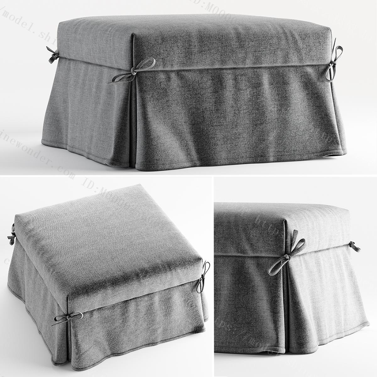 现代布艺沙发凳模型