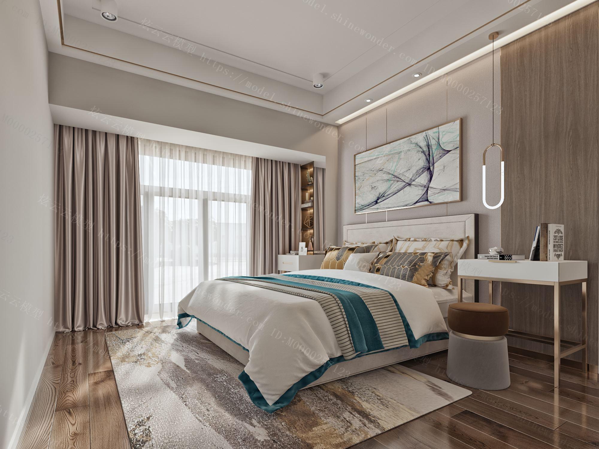 现代奢华卧室模型