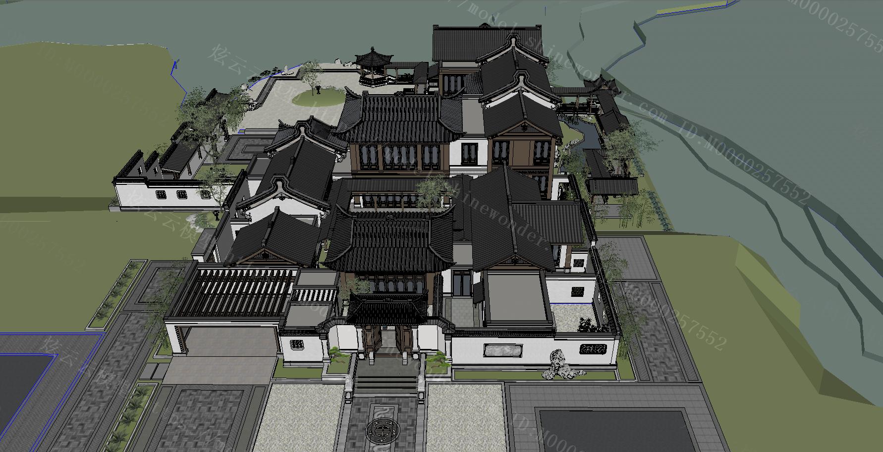 中式庄园模型