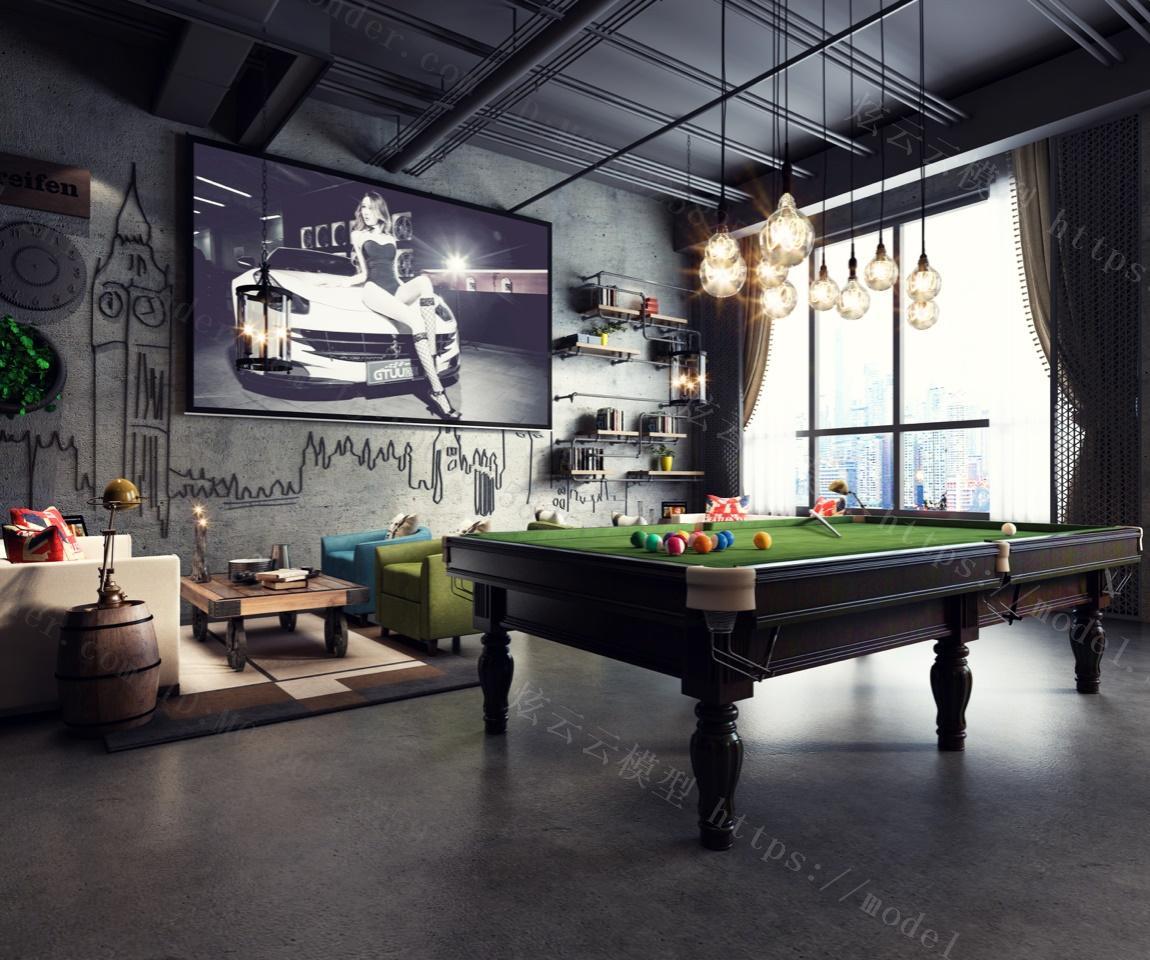 工业风休闲酒吧模型