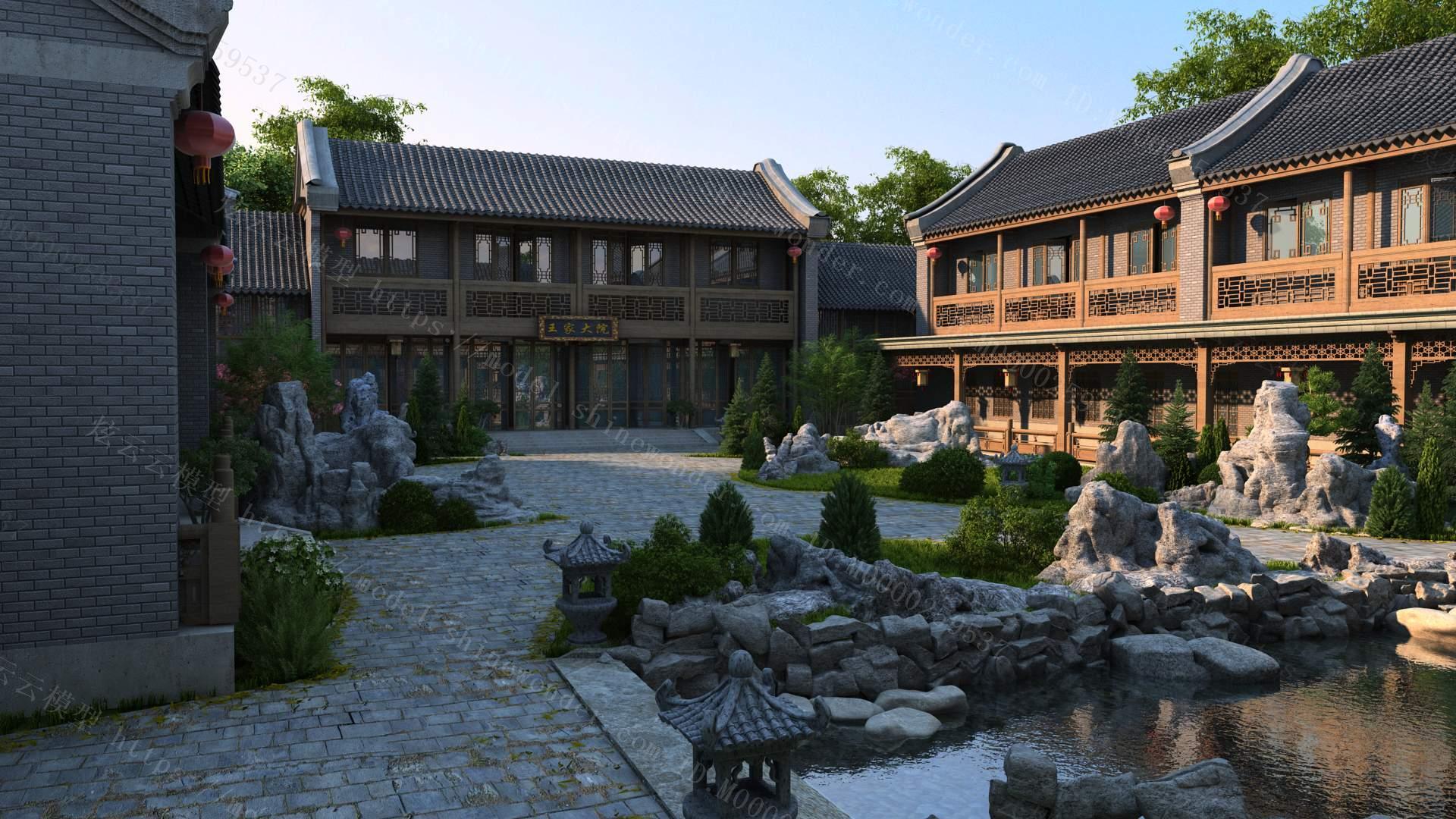古建筑庭院模型