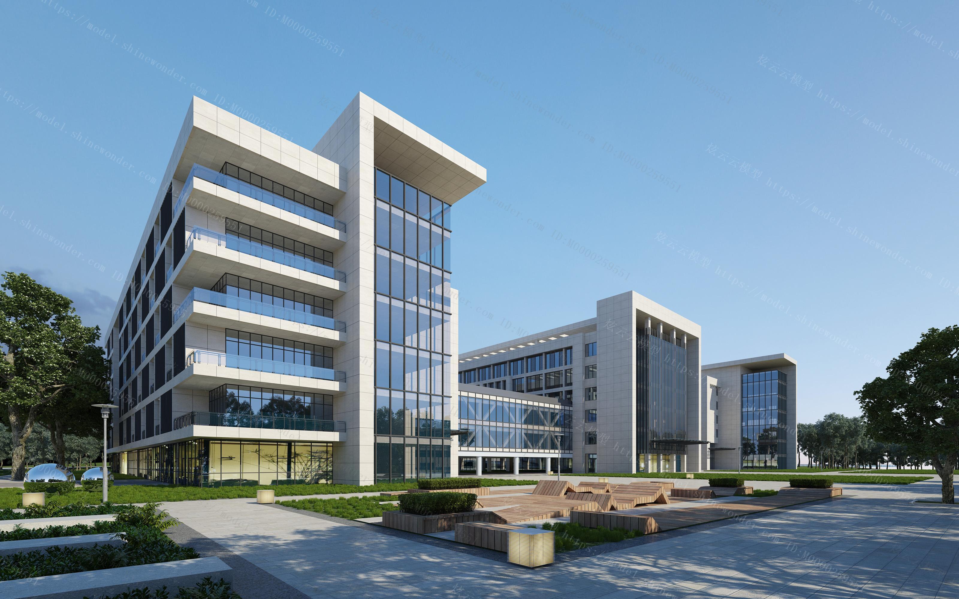 现代办公楼外观模型