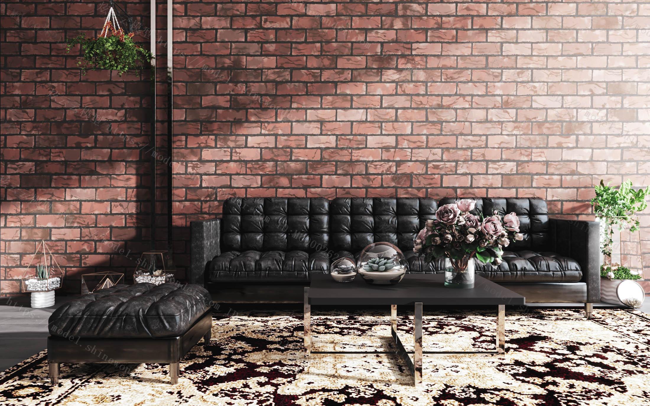 现代皮质沙发茶几组合模型