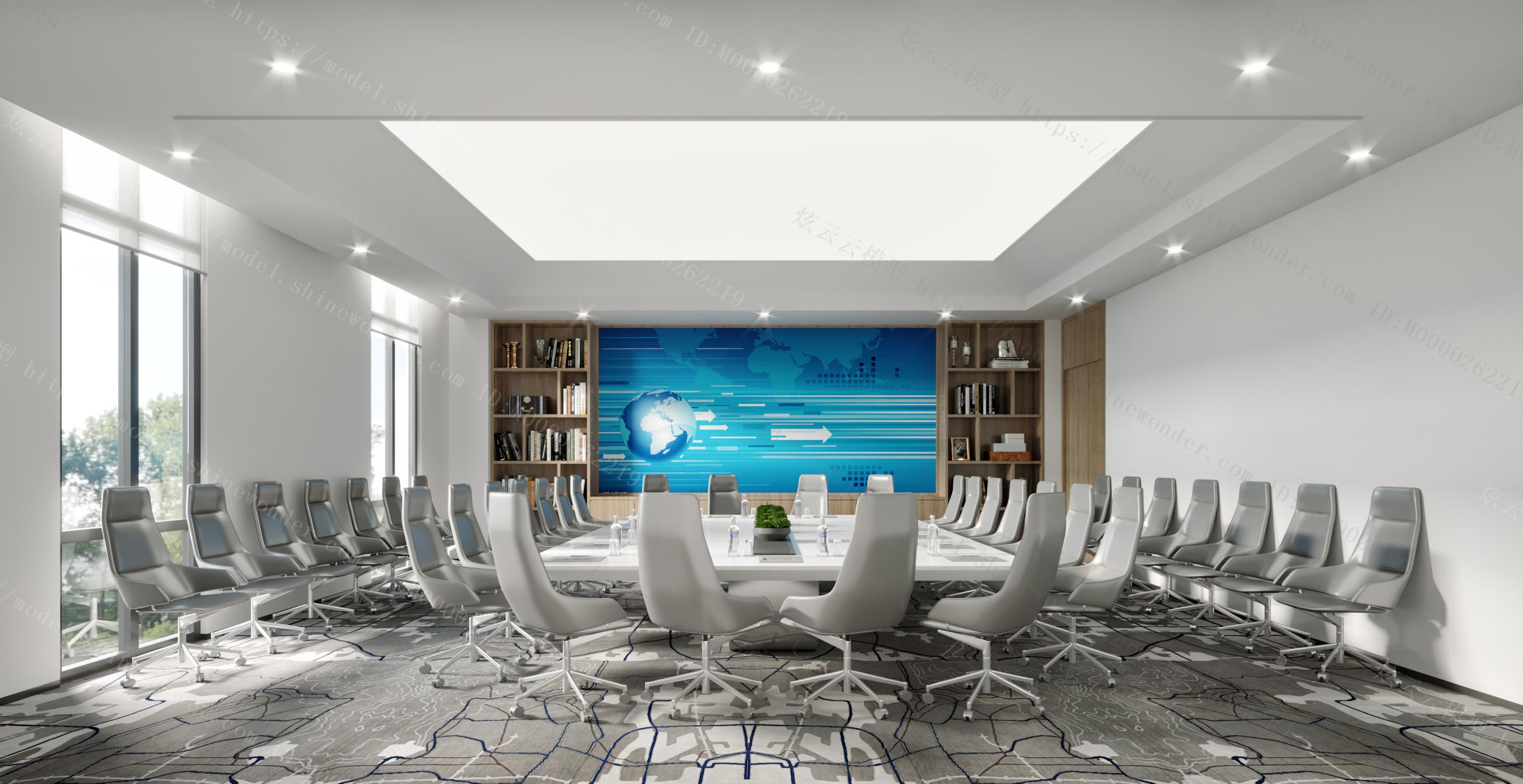 现代经理室会议室模型