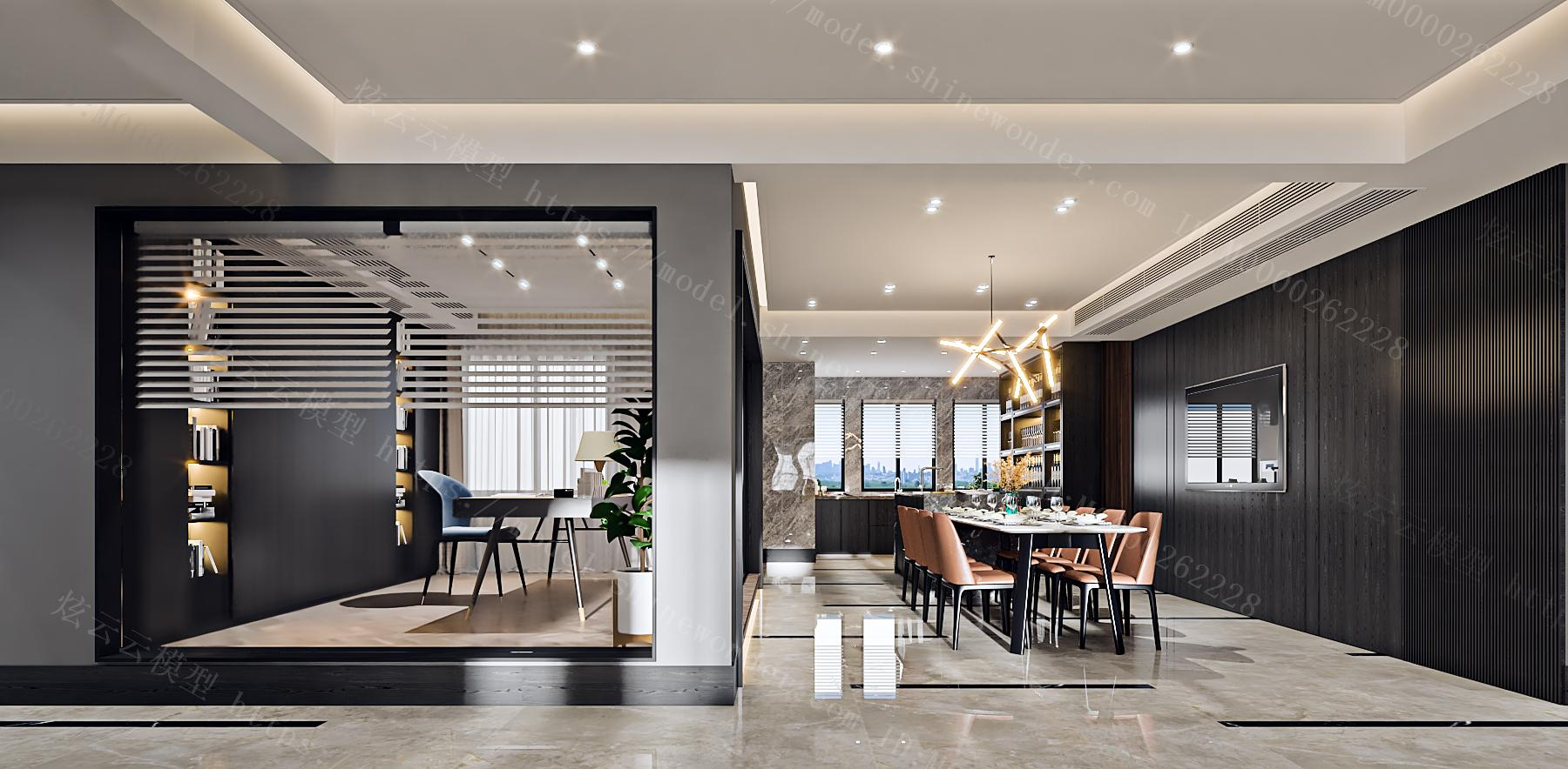 现代客餐厅书房模型