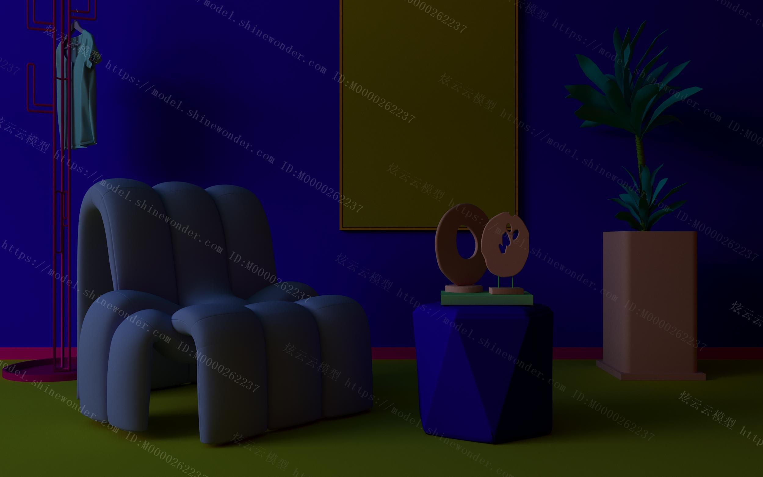 现代异形单人沙发休闲椅模型