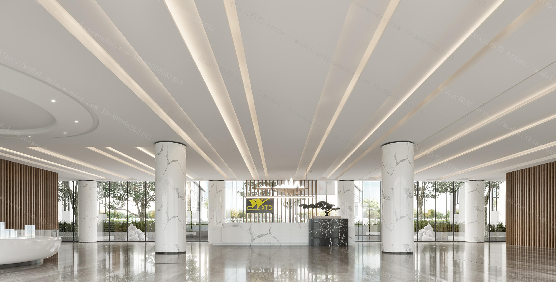 现代售楼部大厅前台模型