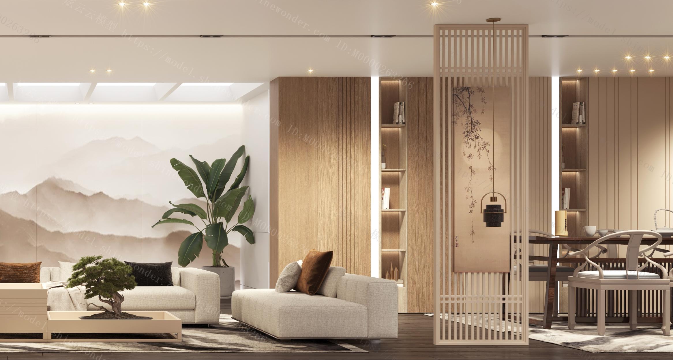 新中式客厅 新中式沙发茶几 植物 吊灯模型