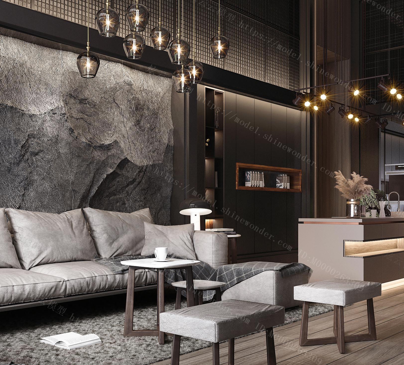 现代工业风客厅餐厅 皮质沙发茶几 酒柜装模型