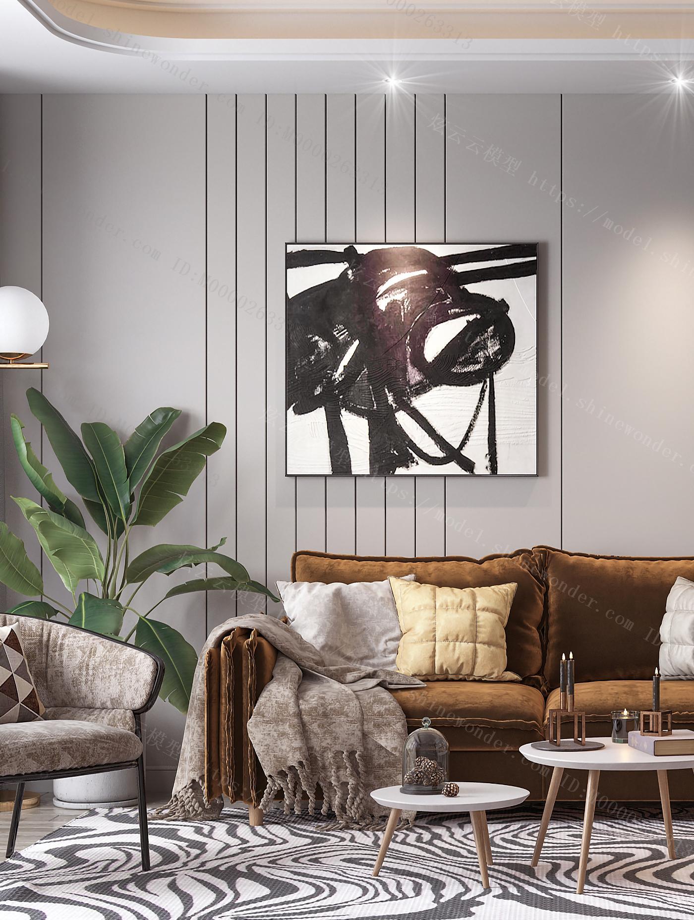 北欧客厅 北欧沙发茶几 植物 电视柜模型