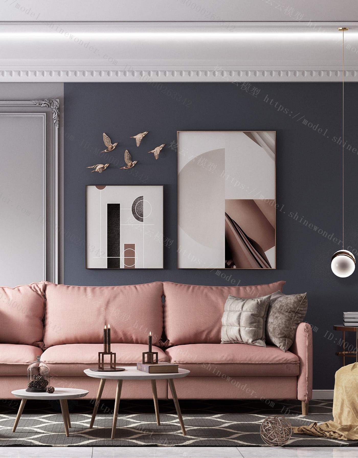 现代轻奢客厅 沙发茶几 书柜装饰柜 电视模型