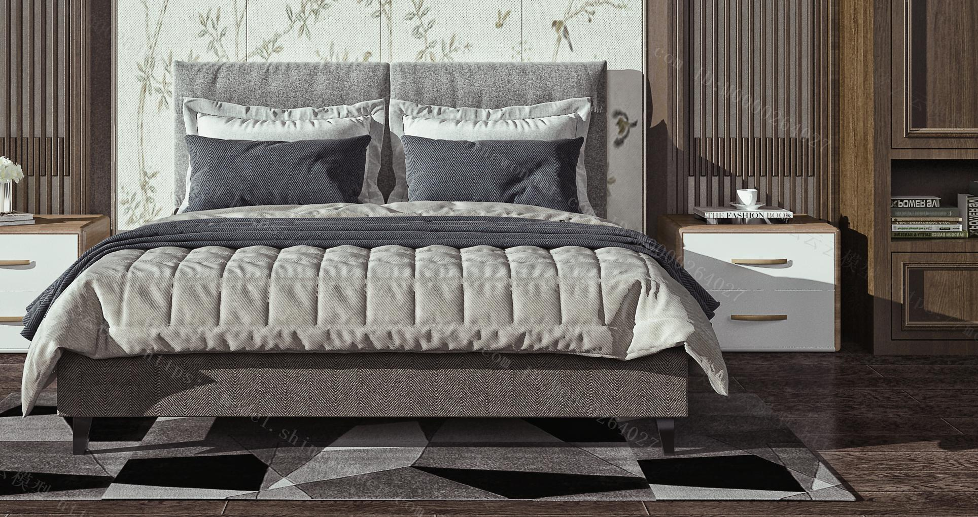 卧室双人床  吊灯  床头柜   衣柜模型