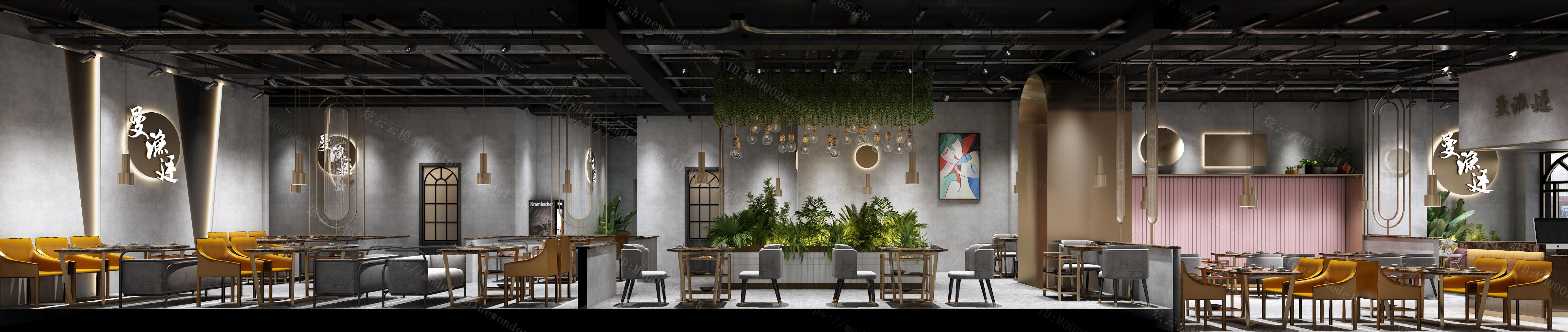 现代轻奢餐厅模型