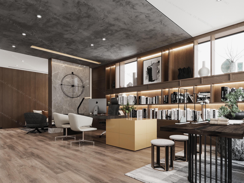 现代办公室书房经理室模型