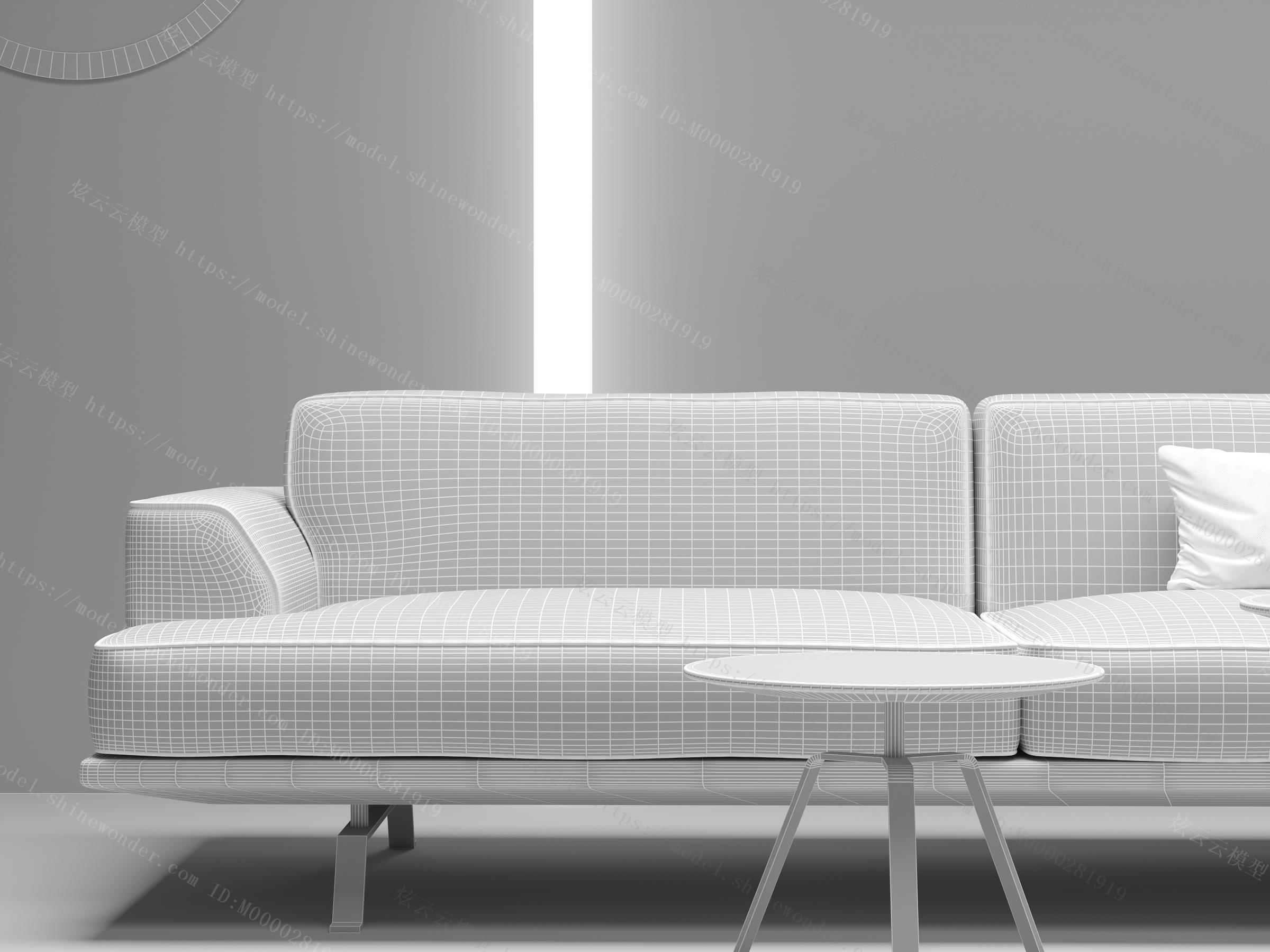 现代沙发茶几斗柜组合模型