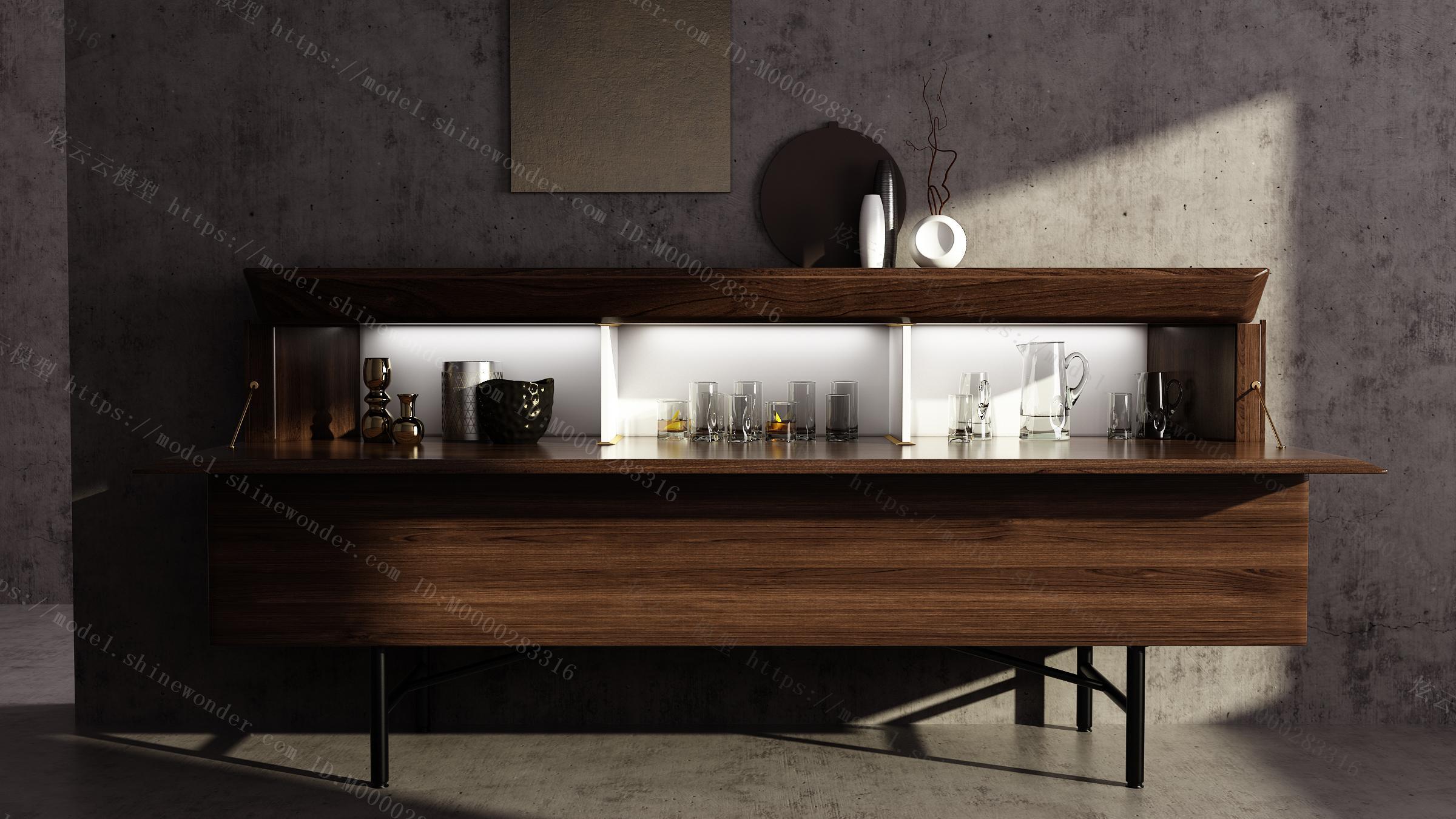 现代餐边柜装饰柜玄关柜模型